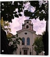 Beautiful Mason Hall - Pomona College - Trees Framing Acrylic Print