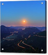 Beautiful Moon Rise At Rocky Mountain National Park Acrylic Print