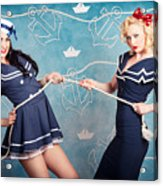 Beautiful Navy Pinup Girls On Marine Background Acrylic Print