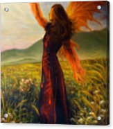 Beautiful Painting Oil On Canvas Of A Fairy Woman In A Historic Dress Standing In Rays Of Sunlight A Acrylic Print