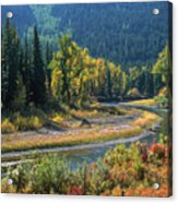 Beautiful River Bottom In Vivid Autumn Colors Acrylic Print
