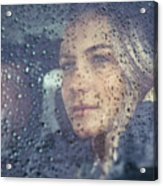 Beautiful Sad Woman In The Car Acrylic Print