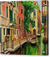 Beautiful Side Canal In Venice Acrylic Print by Charlotte Blanchard