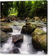 Beautiful Stream In Western Ghats Region Of Karnataka India Acrylic Print