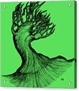 Beautiful Tree In Color Nature Original Black And White Pen Art By Rune Larsen Acrylic Print