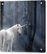 Beautiful Unicorn In Snowy Forest Acrylic Print