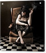 Beautiful Vintage Fashion Girl In Grunge Interior Acrylic Print by Jorgo Photography - Wall Art Gallery