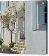 Beautiful White Mediterranean Architecture With Blue Frames. Acrylic Print