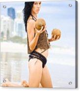 Beautiful Woman In Beach Heaven Acrylic Print