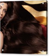 Beautiful Woman With Hair Extensions Acrylic Print