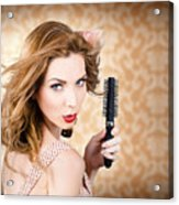 Beautiful Woman With Short Red Hair. Hairdressing Acrylic Print