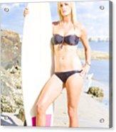 Beautiful Young Blond Surf Woman Acrylic Print