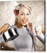 Beautiful Young Retro Woman With Cup Of Coffee Acrylic Print