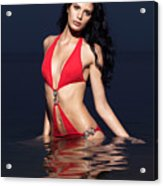 Beautiful Young Woman In Red Swimsuit Standing In Water Acrylic Print
