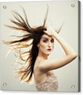 Beautiful Young Woman With Windswept Hair Acrylic Print