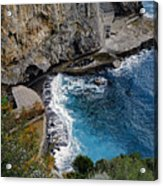 Beautifully Carved Out Swimming Deck On The Edge Of The Sea On The Amalfi Coast In Italy  Acrylic Print