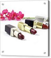 Beauty And Esthetics Care. Lipsticks And Flowers Acrylic Print