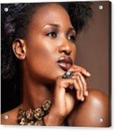 Beauty Portrait Of Black Woman Wearing Jewelry Acrylic Print