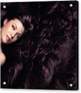Beauty Portrait Of Woman Surrounded By Long Brown Hair  Acrylic Print