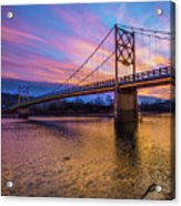 Beaver Bridge Sunset - Eureka Springs Arkansas - Square Format Acrylic Print