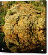 Beaver's Bend Rock Wall Reflection Acrylic Print