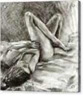 Nude Becky in Her Sheets Acrylic Print