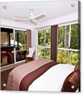 Bedroom With Brown And Cream Theme Acrylic Print