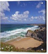Bedruthan Steps Beach And Atlantic Surf In Summer Sun Cornwall  Acrylic Print