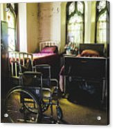 Beds And Wheelchair In Abandoned Church Acrylic Print