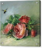 Bee And Roses On A Table Acrylic Print