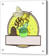 Bee Carrying Gift Box Skep Circle Drawing Acrylic Print