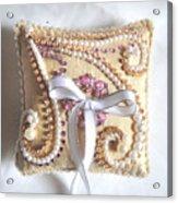 Beige-white Wedding Ring Pillow Acrylic Print