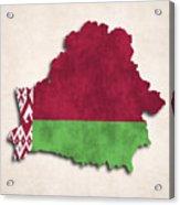 Belarus Map Art With Flag Design Acrylic Print
