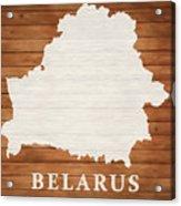 Belarus Rustic Map On Wood Acrylic Print