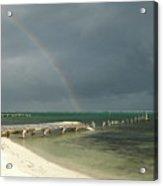 Belize Rainbow And Broken Pier Acrylic Print