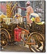Belize Vendor With Bike Acrylic Print