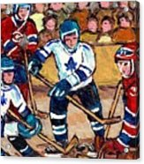 Bell Center Hockey Art Goalie Carey Price Makes A Save Original 6 Teams Habs Vs Leafs Carole Spandau Acrylic Print