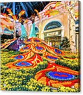 Bellagio Conservatory Fall Peacock Display Side View Wide 2017 Acrylic Print