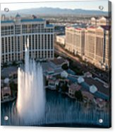 Bellagio Fountains At Dusk Acrylic Print by Andy Smy