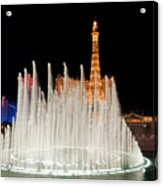 Bellagio Fountains Night 2 Acrylic Print by Andy Smy