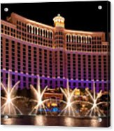 Bellagio Hotel And Casino Acrylic Print by Melody Watson