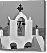 Bells In Oia Bw Acrylic Print