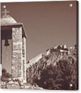 Belltower And Fortress Of Palamidi, Nafplio, Greece. Sepia. Acrylic Print
