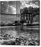Below The Dam In Black And White Acrylic Print