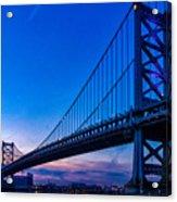 Ben Franklin Bridge At Sunset Acrylic Print