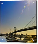 Ben Franklin Bridge From The Marina Acrylic Print