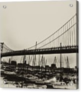 Ben Franklin Bridge From The Marina In Black And White. Acrylic Print by Bill Cannon