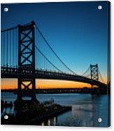 Ben Franklin Bridge In Philadelphia At Dawn Acrylic Print