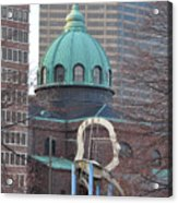 Ben Franklin Sculpture And St Peters Basilica Philadelphia Acrylic Print