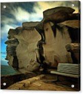 Bench And Huge Overhanging Rock Acrylic Print